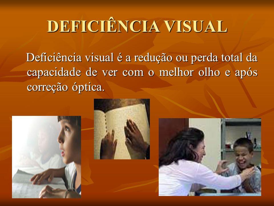 DEFICIÊNCIA VISUAL Deficiência visual é a redução ou perda total da capacidade de ver com o melhor olho e após correção óptica.