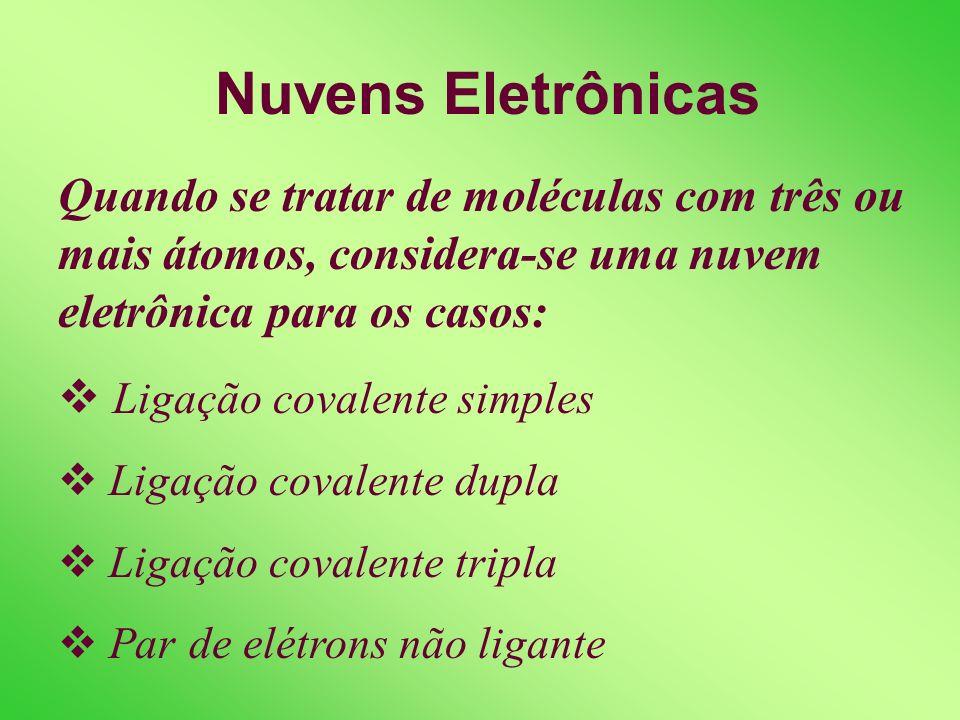 Nuvens Eletrônicas Quando se tratar de moléculas com três ou mais átomos, considera-se uma nuvem eletrônica para os casos: