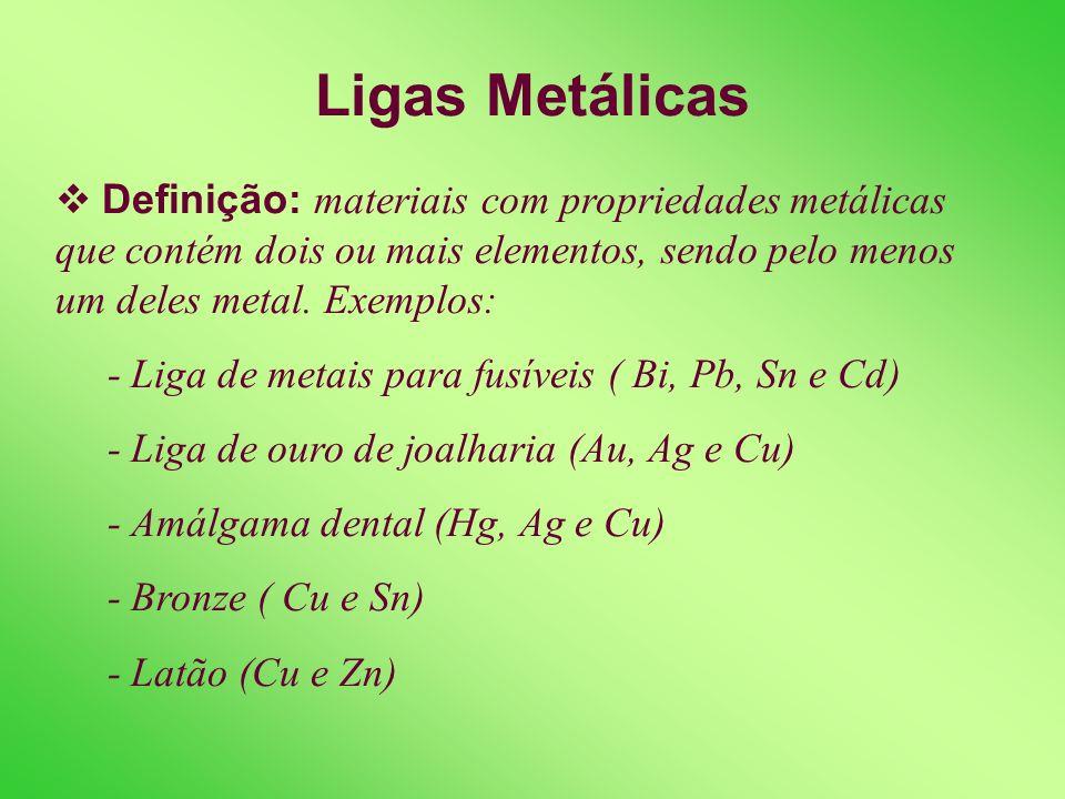Ligas Metálicas Definição: materiais com propriedades metálicas que contém dois ou mais elementos, sendo pelo menos um deles metal. Exemplos: