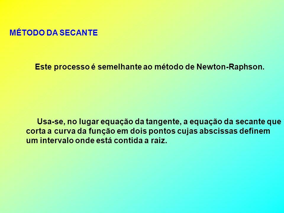 MÉTODO DA SECANTE Este processo é semelhante ao método de Newton-Raphson. Usa-se, no lugar equação da tangente, a equação da secante que.