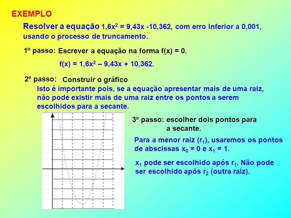 EXEMPLO Resolver a equação 1,6x2 = 9,43x -10,362, com erro inferior a 0,001, usando o processo de truncamento.