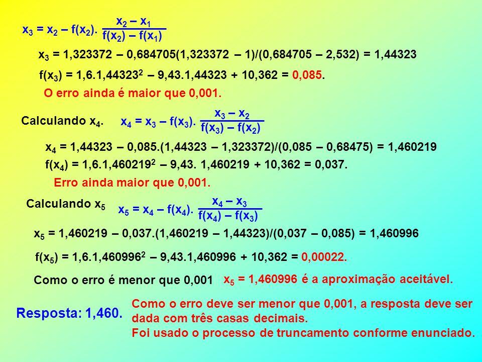 Resposta: 1,460. x2 – x1 x3 = x2 – f(x2). f(x2) – f(x1)
