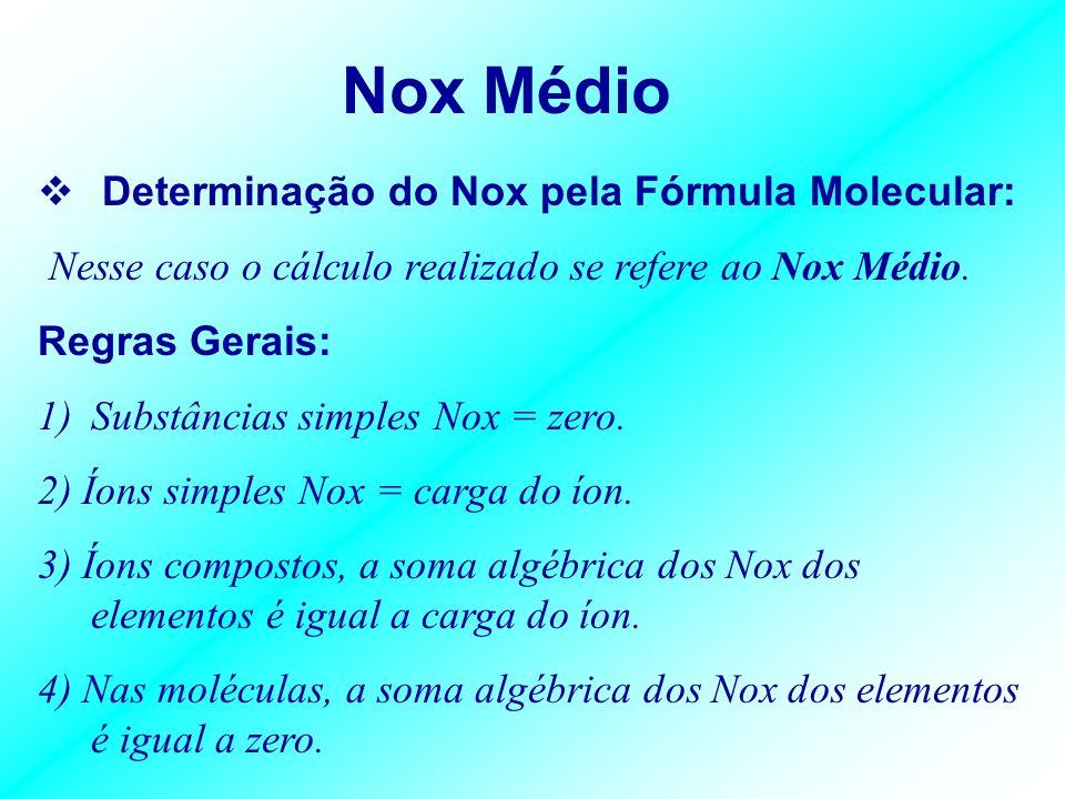 Nox Médio Determinação do Nox pela Fórmula Molecular: