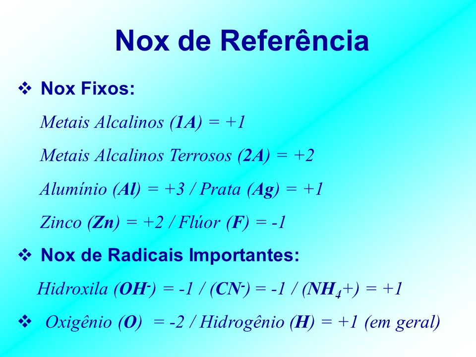 Nox de Referência Nox Fixos: Metais Alcalinos (1A) = +1