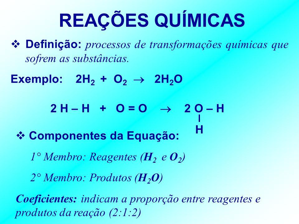 REAÇÕES QUÍMICAS Definição: processos de transformações químicas que sofrem as substâncias. Exemplo: 2H2 + O2  2H2O.