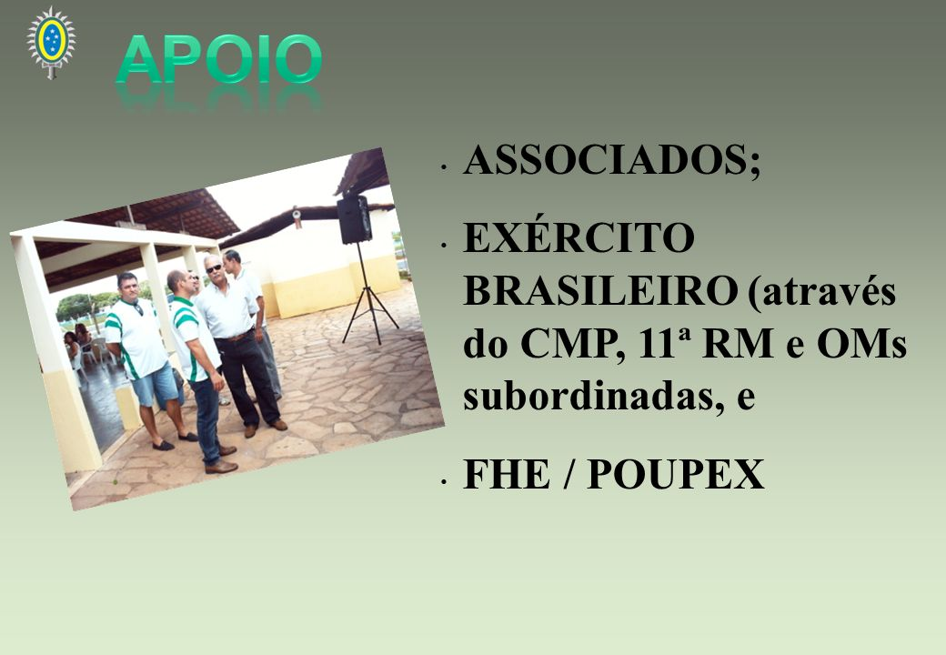 APOIO ASSOCIADOS; EXÉRCITO BRASILEIRO (através do CMP, 11ª RM e OMs subordinadas, e FHE / POUPEX