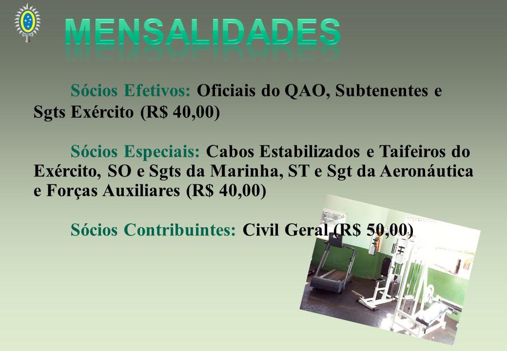 MENSALIDADES Sócios Efetivos: Oficiais do QAO, Subtenentes e Sgts Exército (R$ 40,00)
