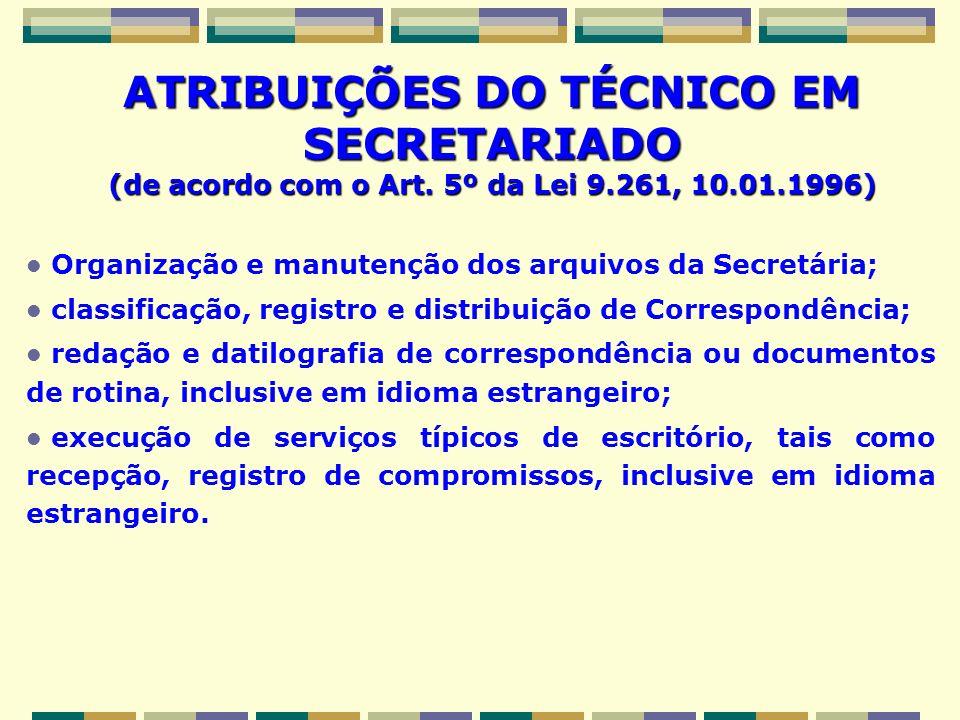 ATRIBUIÇÕES DO TÉCNICO EM SECRETARIADO