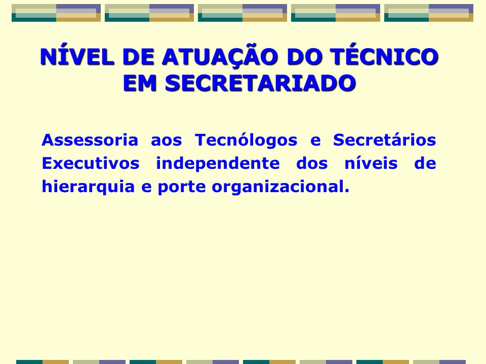 NÍVEL DE ATUAÇÃO DO TÉCNICO EM SECRETARIADO