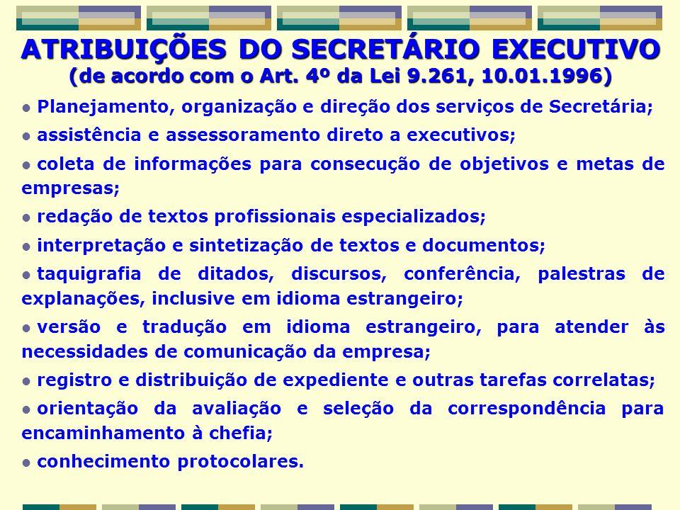 ATRIBUIÇÕES DO SECRETÁRIO EXECUTIVO