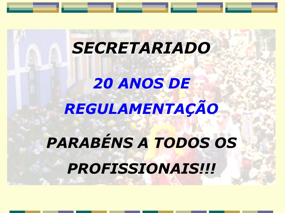 20 ANOS DE REGULAMENTAÇÃO PARABÉNS A TODOS OS PROFISSIONAIS!!!