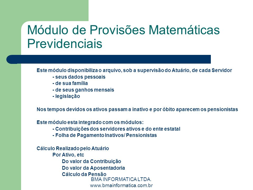 Módulo de Provisões Matemáticas Previdenciais