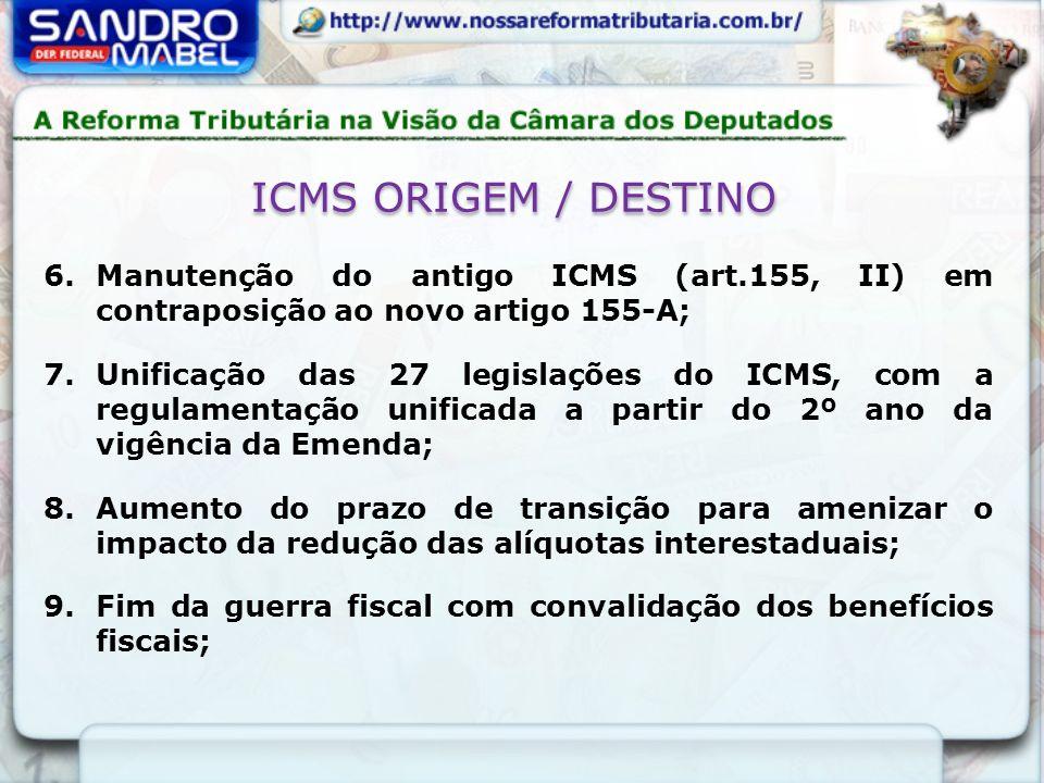 ICMS ORIGEM / DESTINO Manutenção do antigo ICMS (art.155, II) em contraposição ao novo artigo 155-A;