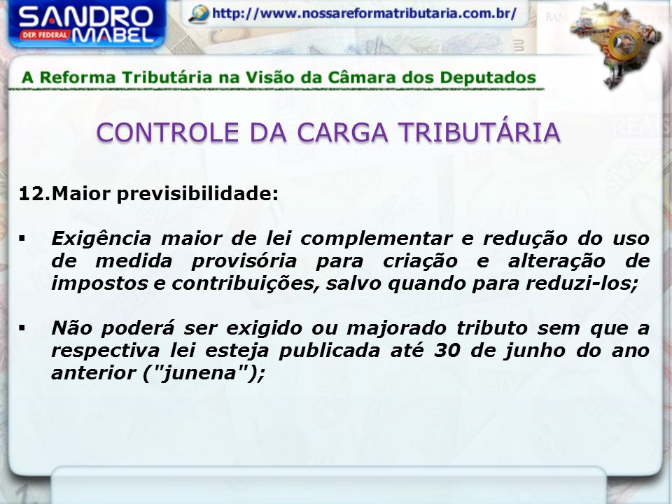 CONTROLE DA CARGA TRIBUTÁRIA
