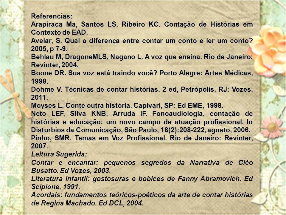 Referencias: Arapiraca Ma, Santos LS, Ribeiro KC. Contação de Histórias em Contexto de EAD.