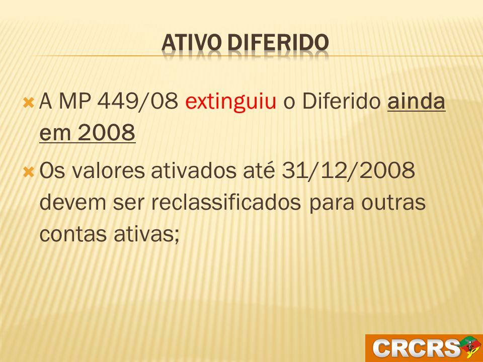 Ativo Diferido A MP 449/08 extinguiu o Diferido ainda em 2008.
