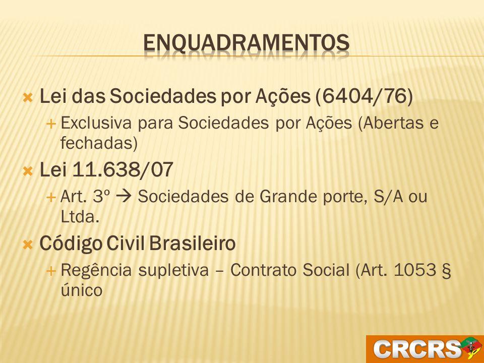 Enquadramentos Lei das Sociedades por Ações (6404/76) Lei 11.638/07