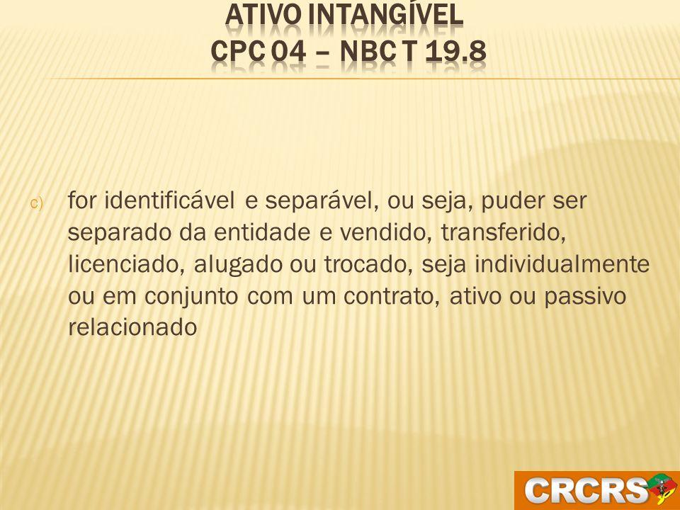 Ativo Intangível CPC 04 – NBC T 19.8