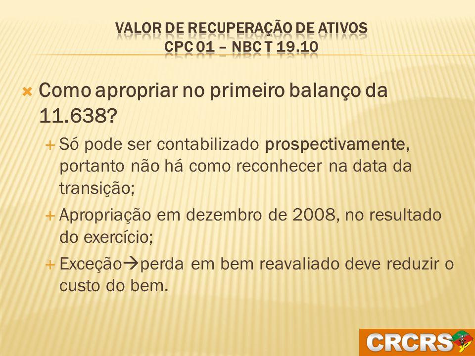 Valor de Recuperação de Ativos CPC 01 – NBC T 19.10