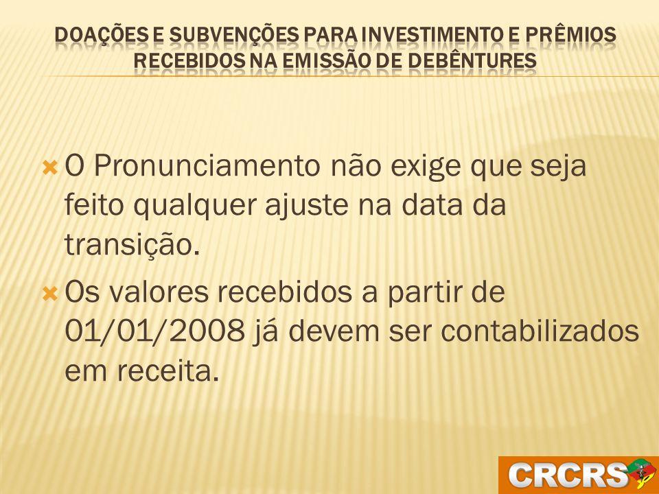 Doações e Subvenções para investimento e prêmios recebidos na emissão de debêntures