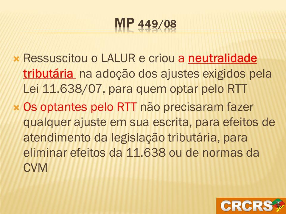 MP 449/08 Ressuscitou o LALUR e criou a neutralidade tributária na adoção dos ajustes exigidos pela Lei 11.638/07, para quem optar pelo RTT.