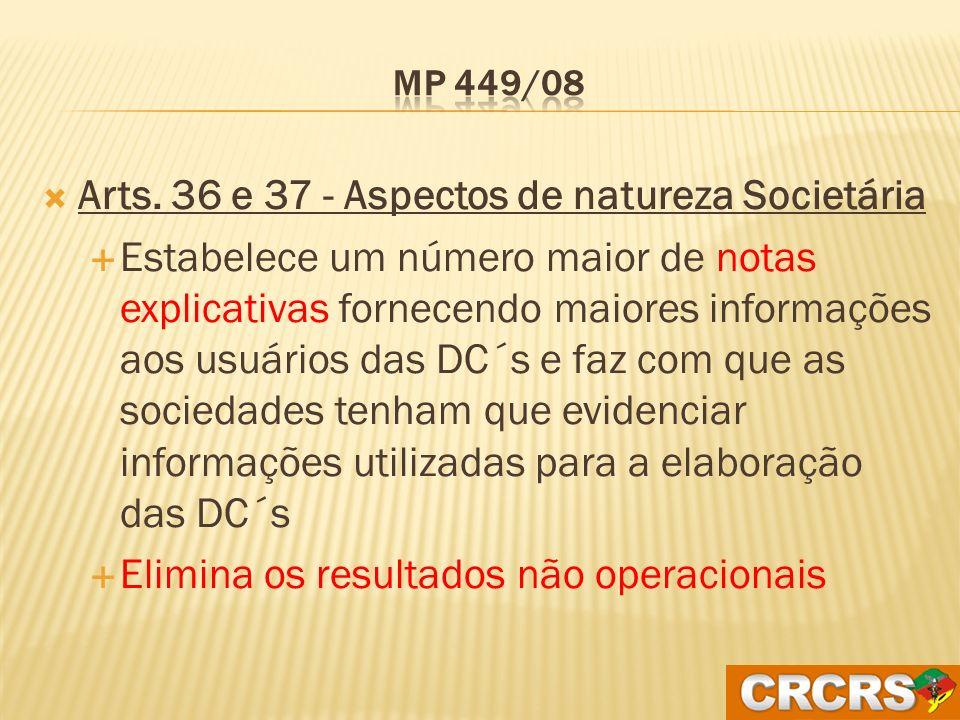 Arts. 36 e 37 - Aspectos de natureza Societária