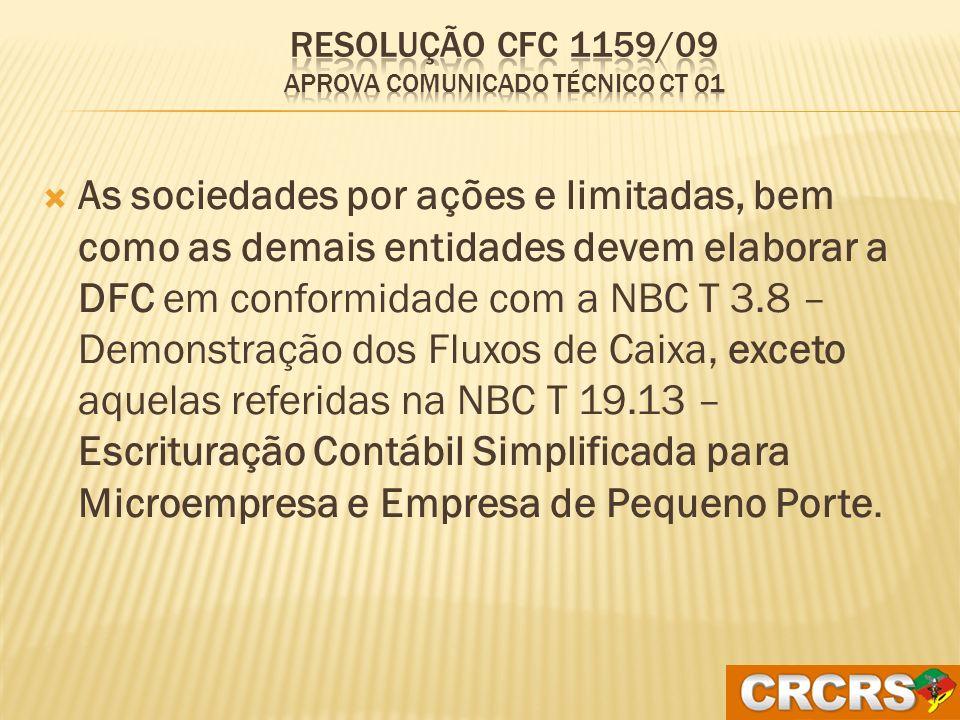 Resolução CFC 1159/09 Aprova Comunicado Técnico CT 01