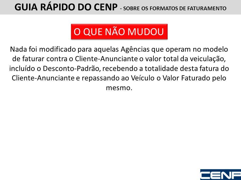 GUIA RÁPIDO DO CENP - SOBRE OS FORMATOS DE FATURAMENTO