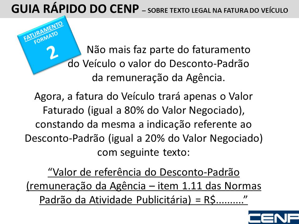 GUIA RÁPIDO DO CENP – SOBRE TEXTO LEGAL NA FATURA DO VEÍCULO