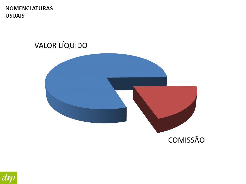 NOMENCLATURAS USUAIS VALOR LÍQUIDO COMISSÃO