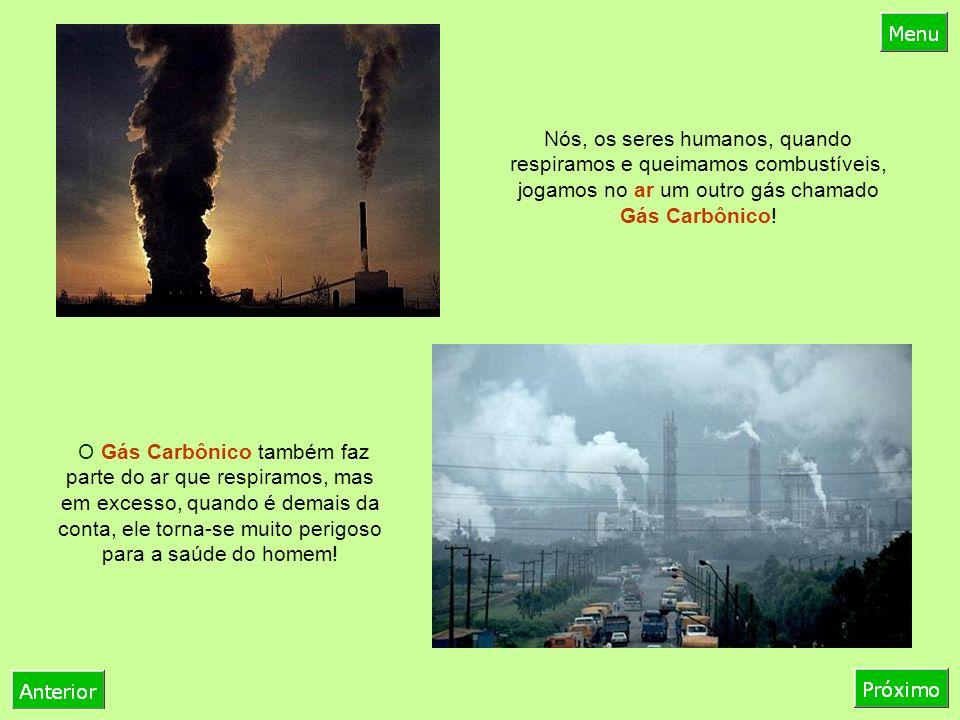 Nós, os seres humanos, quando respiramos e queimamos combustíveis, jogamos no ar um outro gás chamado Gás Carbônico!