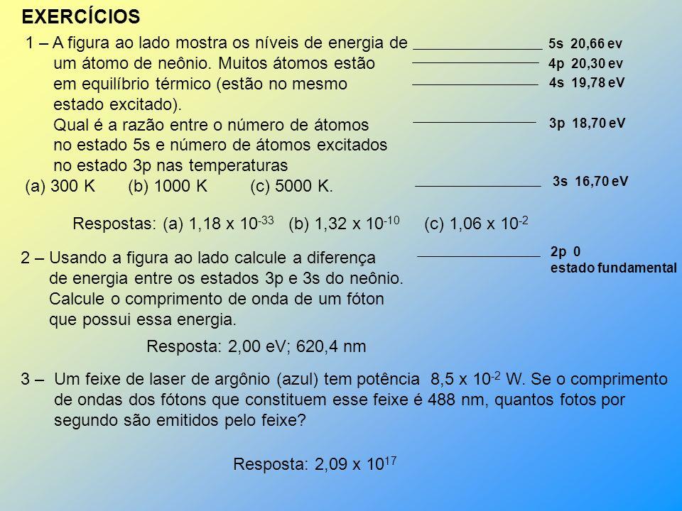 EXERCÍCIOS 1 – A figura ao lado mostra os níveis de energia de