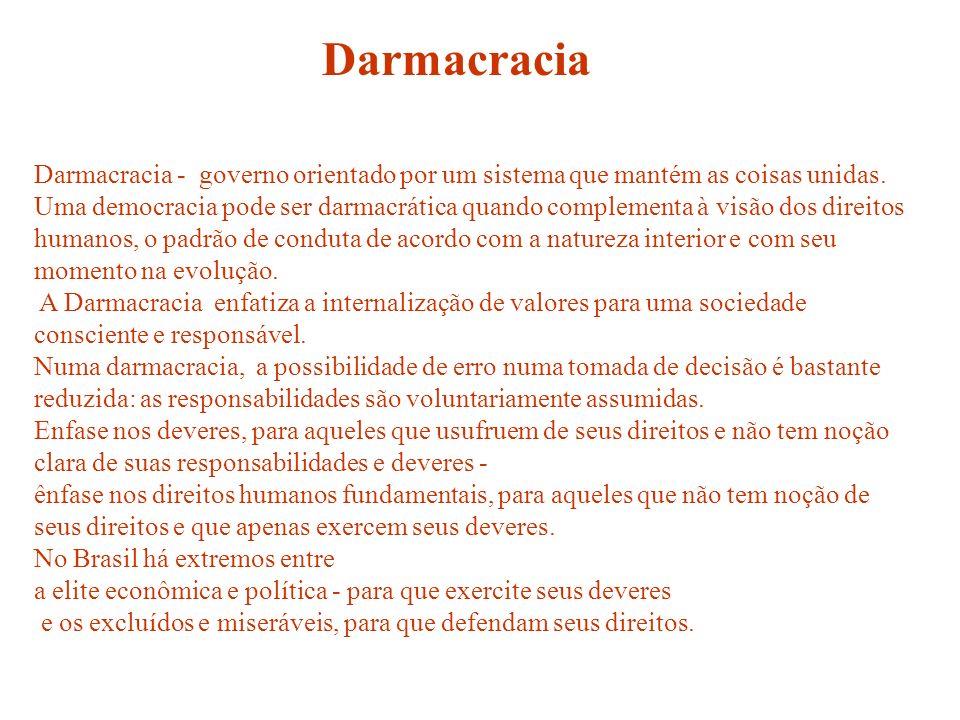 Darmacracia Darmacracia - governo orientado por um sistema que mantém as coisas unidas.