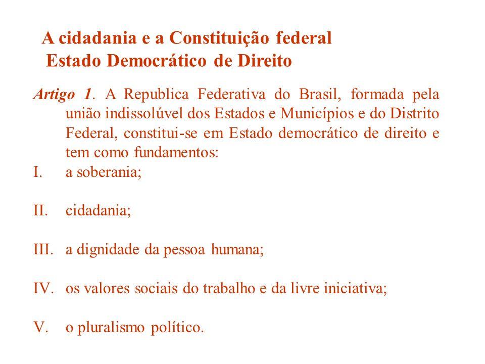A cidadania e a Constituição federal Estado Democrático de Direito