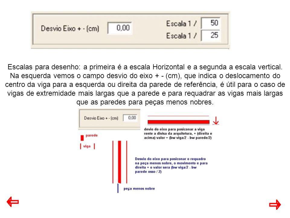 Escalas para desenho: a primeira é a escala Horizontal e a segunda a escala vertical.