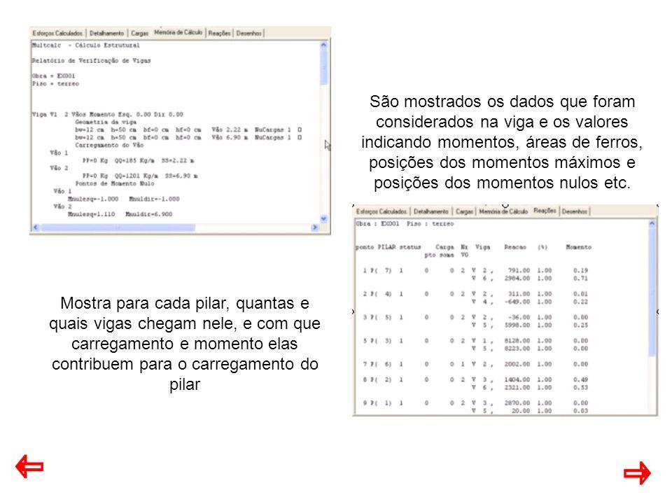 São mostrados os dados que foram considerados na viga e os valores indicando momentos, áreas de ferros, posições dos momentos máximos e posições dos momentos nulos etc.