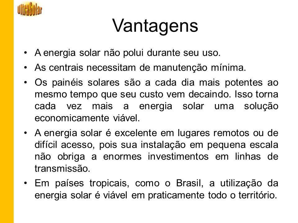 Vantagens A energia solar não polui durante seu uso.