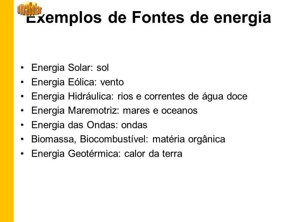 Exemplos de Fontes de energia