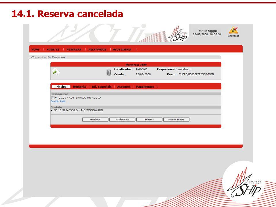 14.1. Reserva cancelada Danilo Aggio
