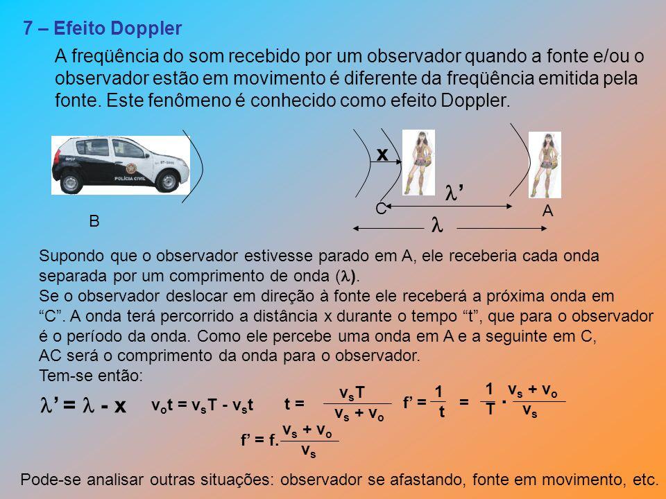 x '  . ' =  - x 7 – Efeito Doppler