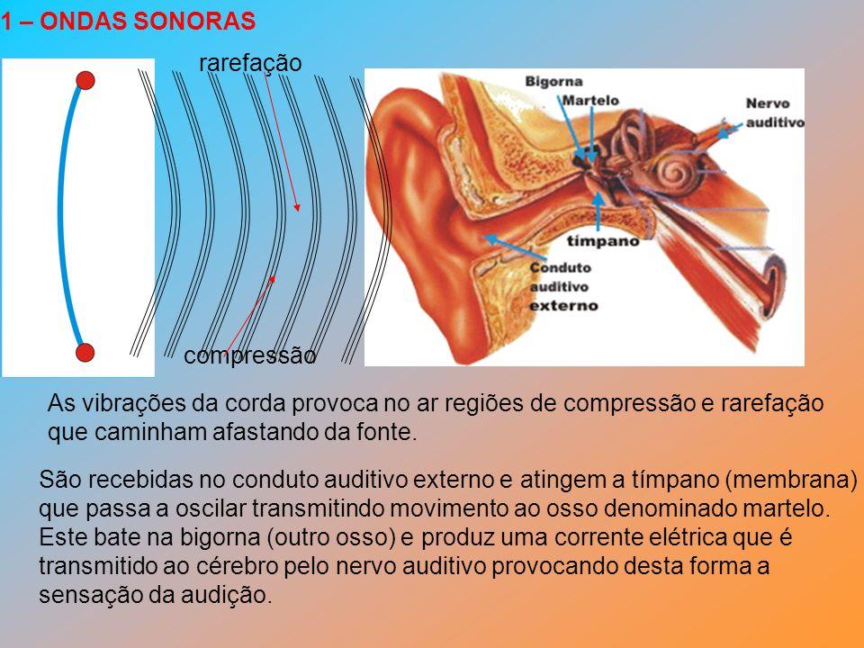 1 – ONDAS SONORAS rarefação. compressão. As vibrações da corda provoca no ar regiões de compressão e rarefação.