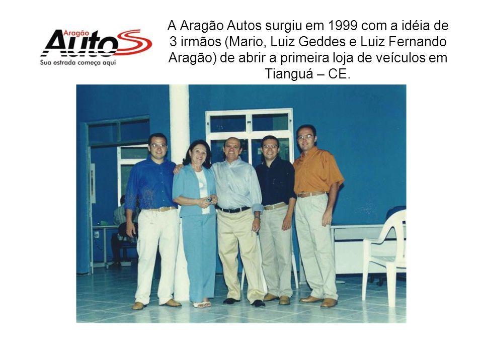 A Aragão Autos surgiu em 1999 com a idéia de 3 irmãos (Mario, Luiz Geddes e Luiz Fernando Aragão) de abrir a primeira loja de veículos em Tianguá – CE.