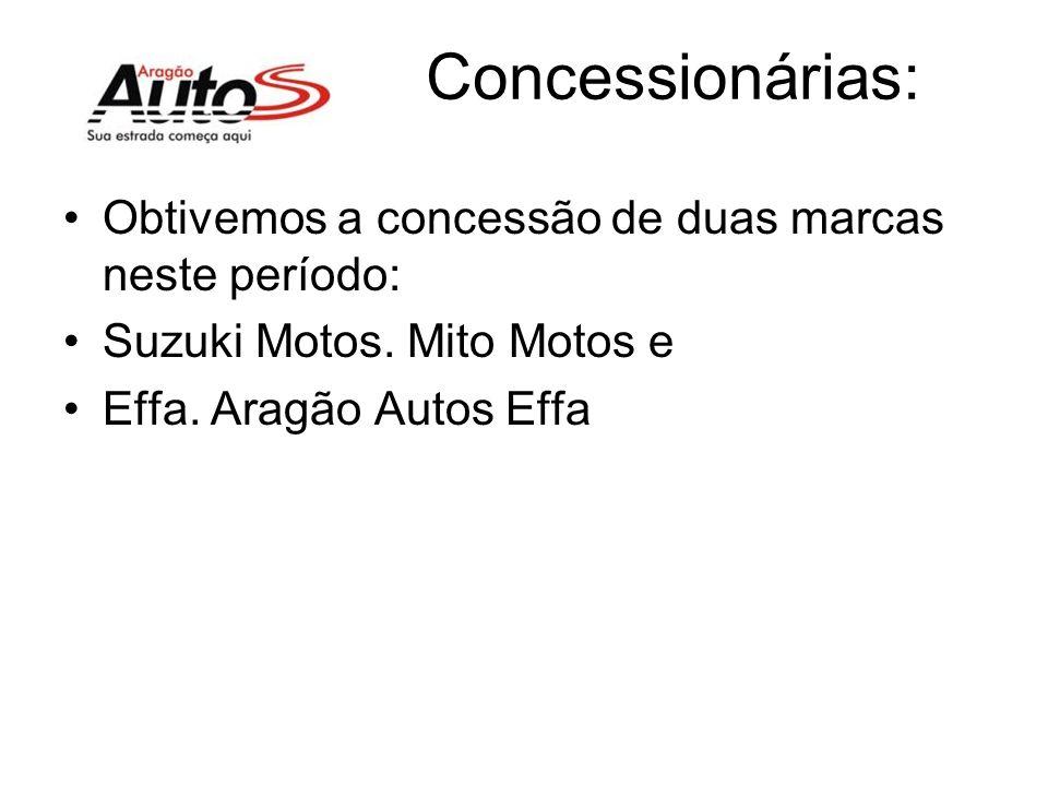 Concessionárias: Obtivemos a concessão de duas marcas neste período: