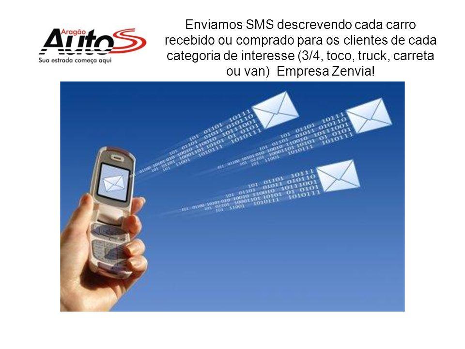 Enviamos SMS descrevendo cada carro recebido ou comprado para os clientes de cada categoria de interesse (3/4, toco, truck, carreta ou van) Empresa Zenvia!