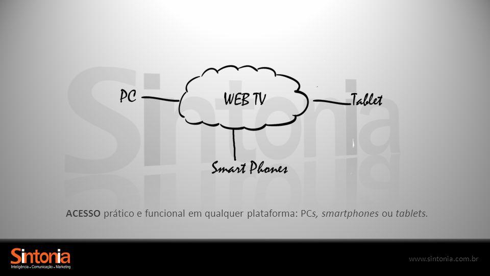 ACESSO prático e funcional em qualquer plataforma: PCs, smartphones ou tablets.