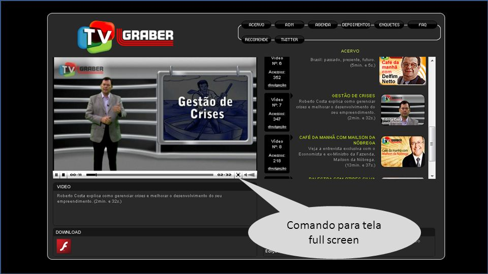 Comando para tela full screen