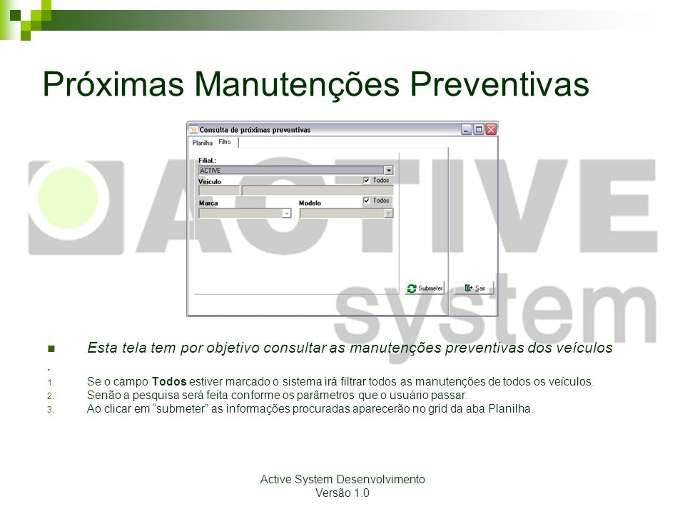 Próximas Manutenções Preventivas