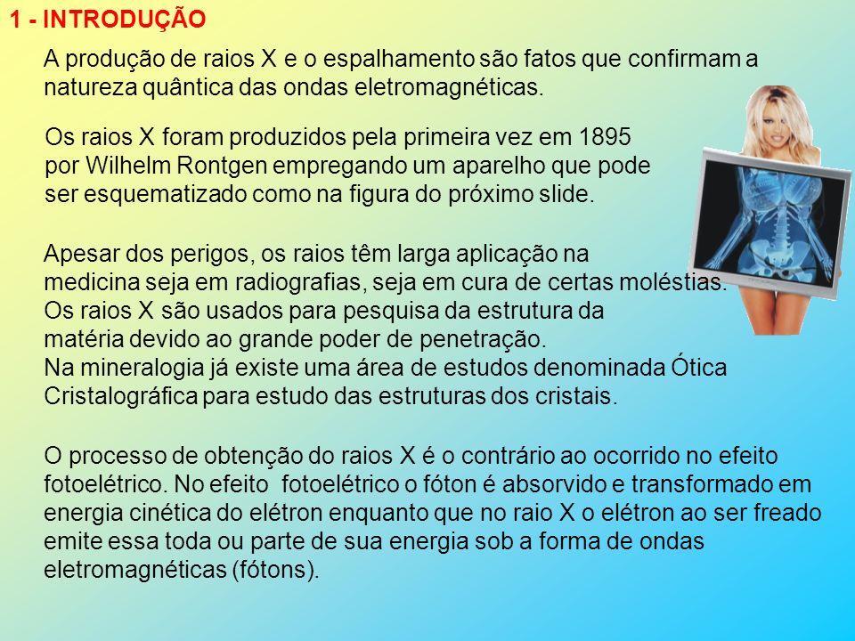 1 - INTRODUÇÃO A produção de raios X e o espalhamento são fatos que confirmam a. natureza quântica das ondas eletromagnéticas.