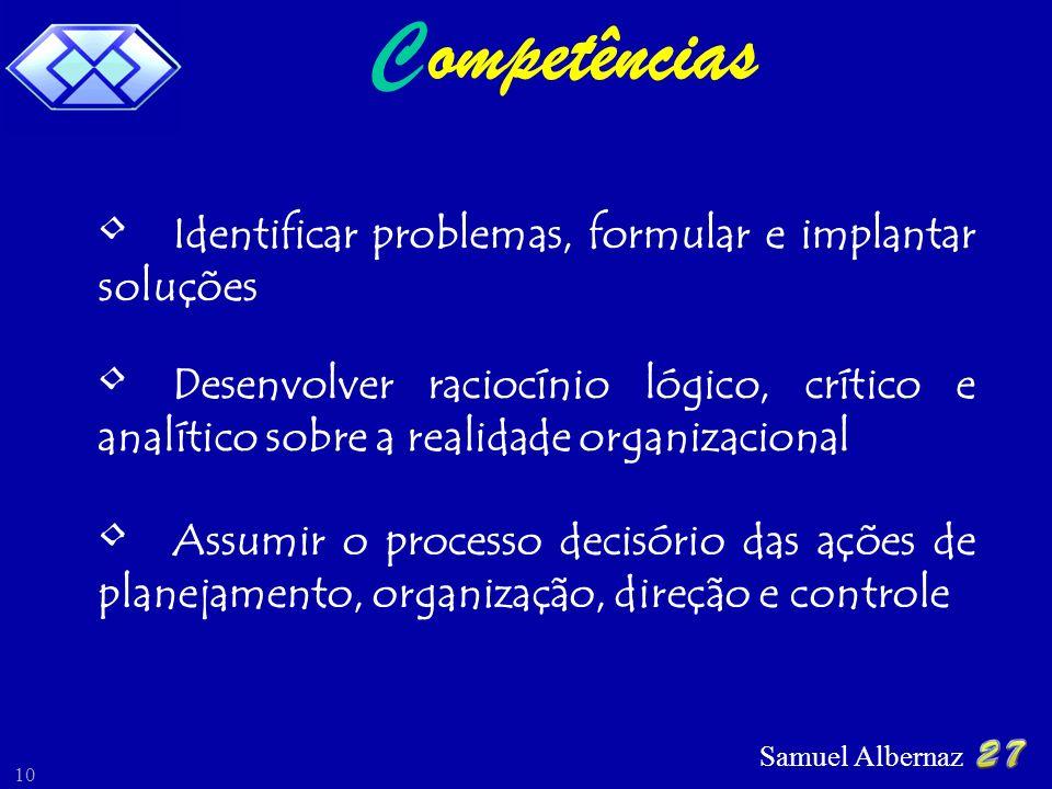 C ompetências Identificar problemas, formular e implantar soluções