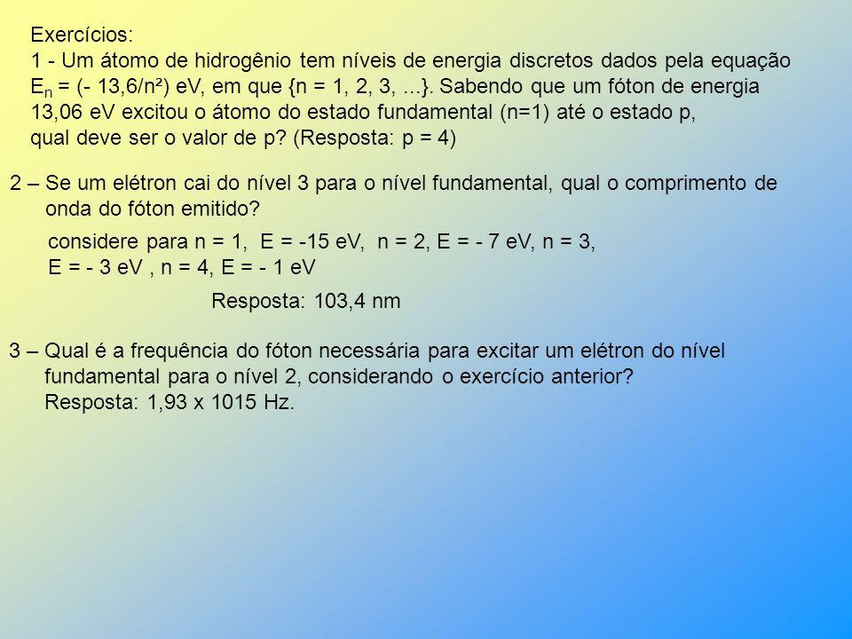 Exercícios: 1 - Um átomo de hidrogênio tem níveis de energia discretos dados pela equação.